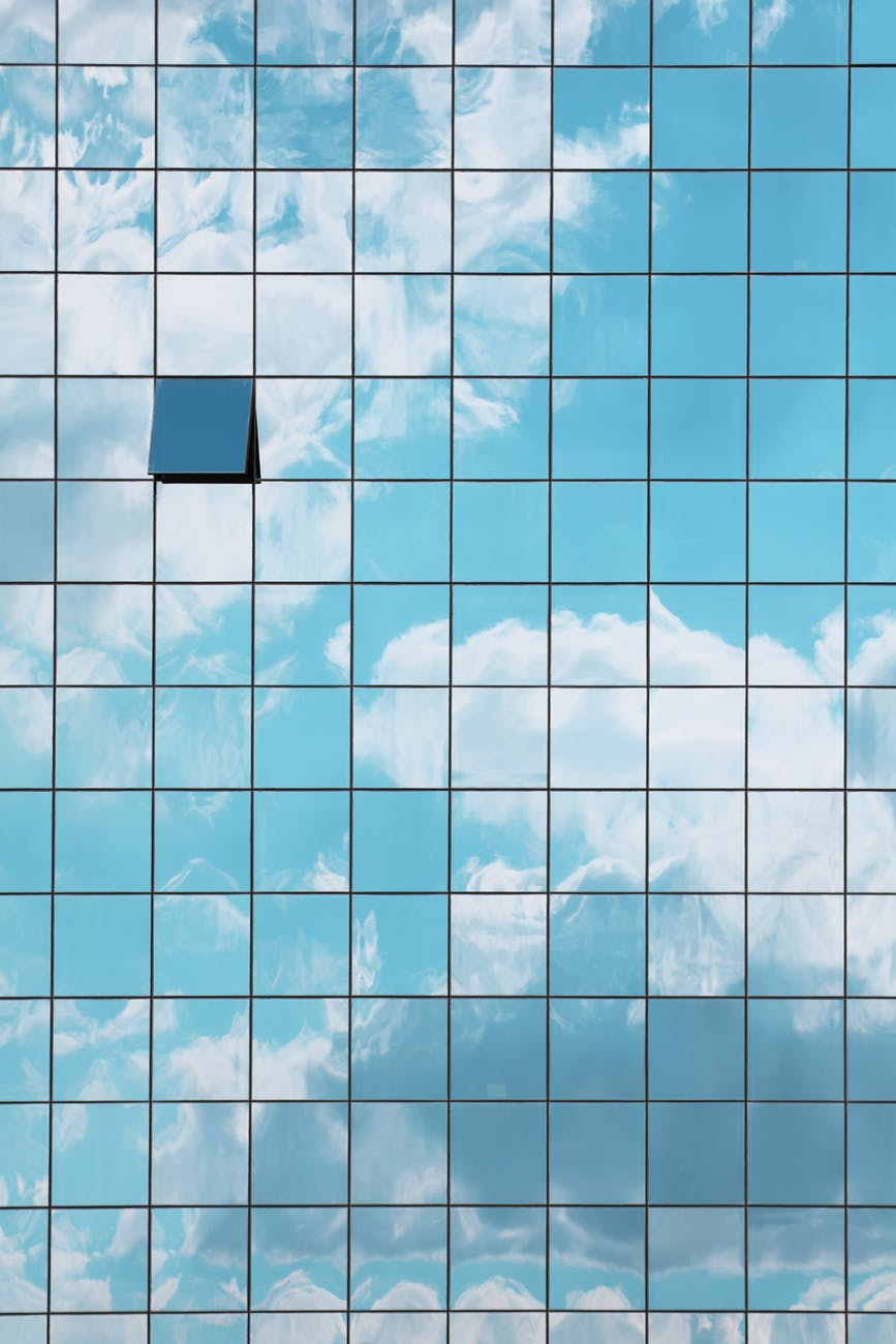 building clouds facade glass panels